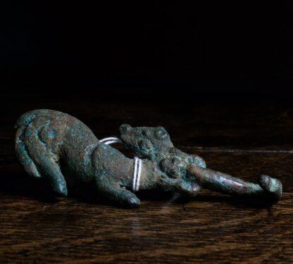 Bronze belt hook, feline & dragon, Han Dynasy 206BC - 221AD -0