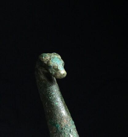 Han Dynasty bronze belt hook, dragon & feline, 206BC - 221AD-9915