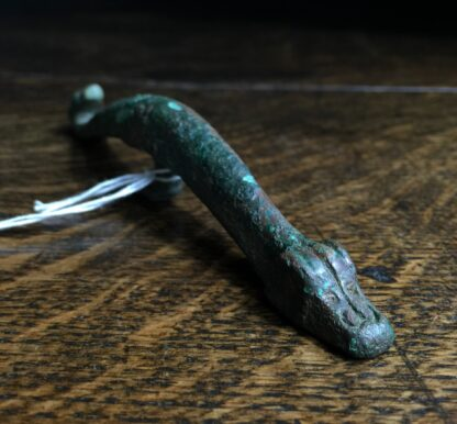 Han Dynasty bronze belt hook, dragon & feline, 206BC - 221AD-9916