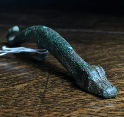Han Dynasty bronze belt hook, dragon & feline, 206BC - 221AD-9920