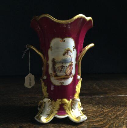 Minton vase with painted scene, claret ground, c.1830-9954