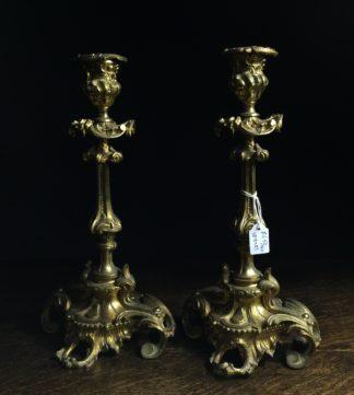 Pair of rococo style ormolu candlesticks, c.1880-0