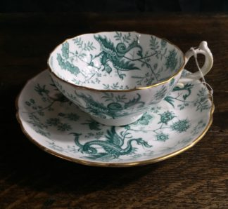 Adams porcelain cup & saucer with cockatrice pattern, c.1850-0