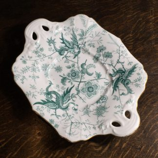 Adams porcelain cake plate with cockatrice pattern, c.1850-0