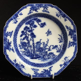 Chinese porcelain plate, blue & white pattern of birds & garden, c. 1750-0
