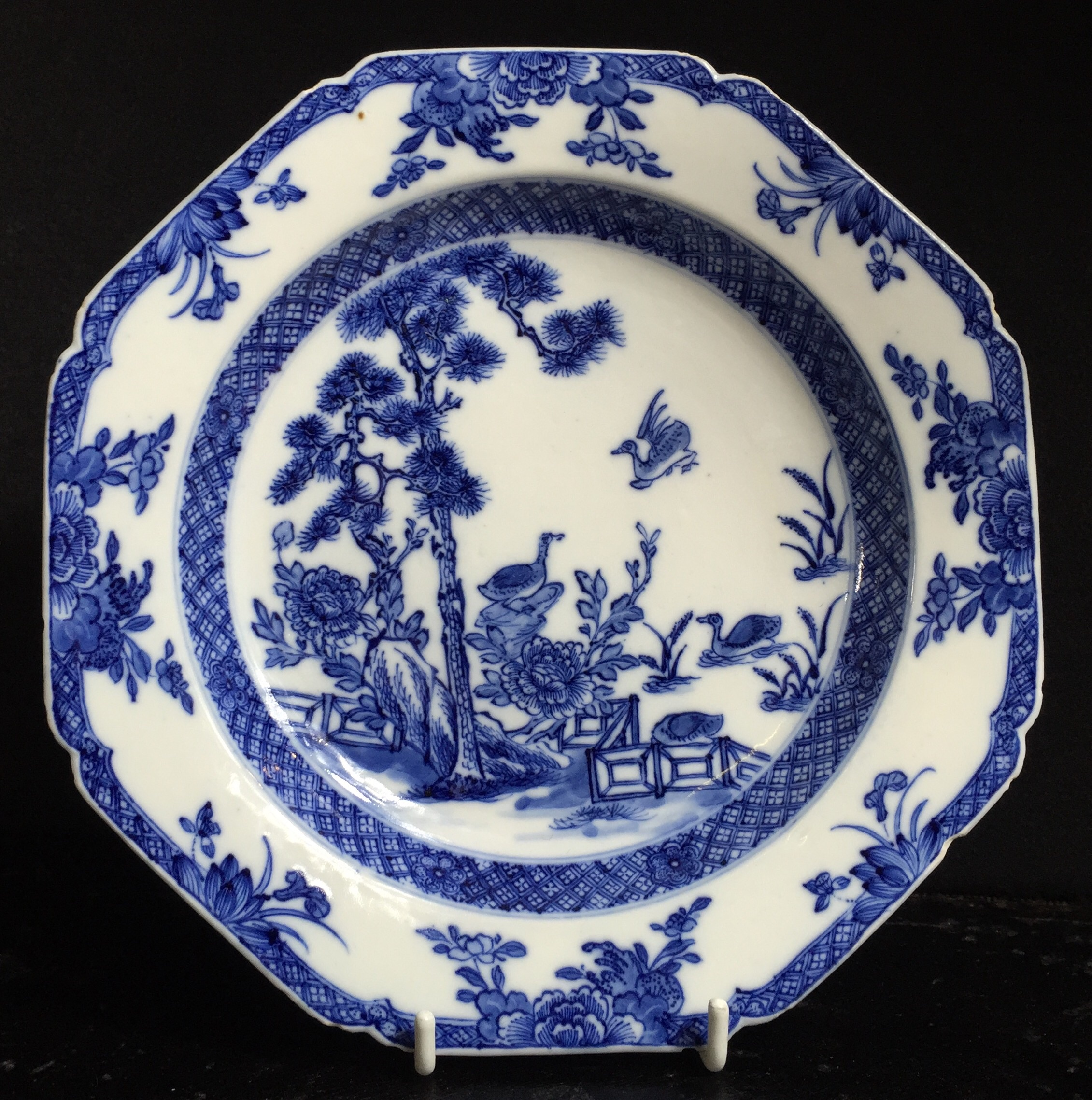 Chinese Porcelain Plate Blue White Pattern Of Birds Garden C 1750 Moorabool Antiques Galleries