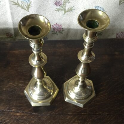 Pair of large brass candlesticks, continental 19th century-11153