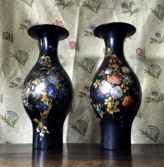Pair of large paper maché vases, flower painted on black, c.1850-0