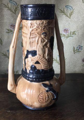 Large Bretby pottery vase, Chinese landscape, c.1915-0
