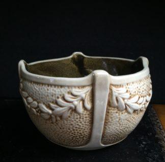 Bretby pottery vase, laurel garlands & ivory glaze , c.1915-0