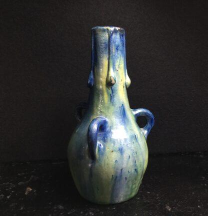 Belgian art pottery 3-handled vase, circa 1910-0