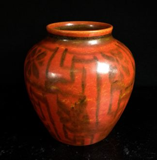 Royal Lancastrian pottery vase, orange with geometric pattern, c.1920-0