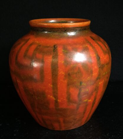 Royal Lancastrian pottery vase, orange with geometric pattern, c.1920-11199