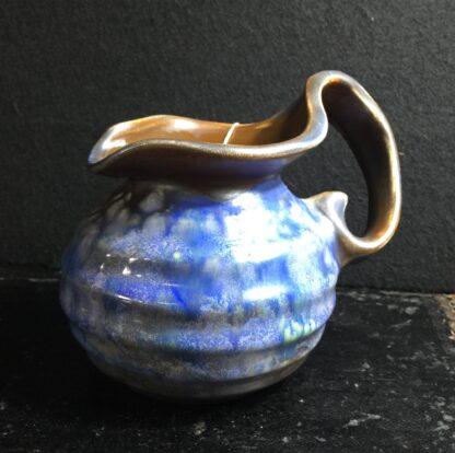 Goedewaagen jug with blue glaze, fantastic nouveau shape, c. 1935-11327