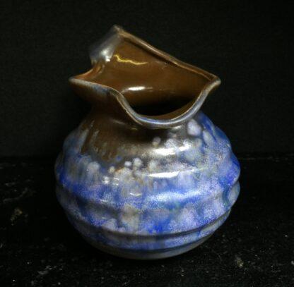 Goedewaagen jug with blue glaze, fantastic nouveau shape, c. 1935-11333