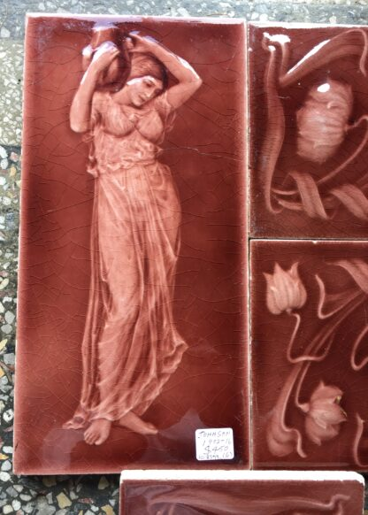 Set of Art Nouveau tiles, including maidens & flowers, Johnson 1902-16-11335