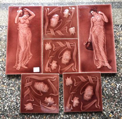 Set of Art Nouveau tiles, including maidens & flowers, Johnson 1902-16-0