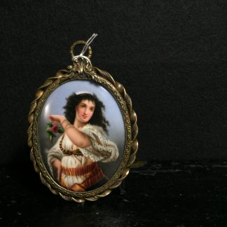 Continental Plaque painted with a Gypsy girl with rose, 19th century.-0