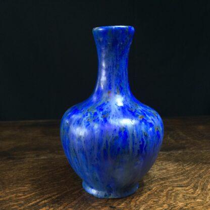 English art pottery vase, Ruskin style blue crystalline glaze, c. 1900-0
