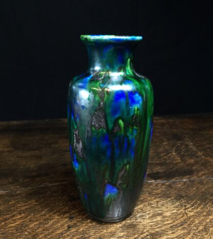 Minton Hollins & Co vase, blue & green glaze, c.1925-11440