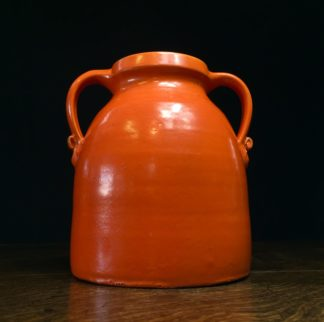 Barum ware vase, by Brannam of Barnstaple, radioactive orange, c. 1925-0