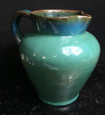 Dicker Pottery jug, turquoise glaze, c.1935-11548