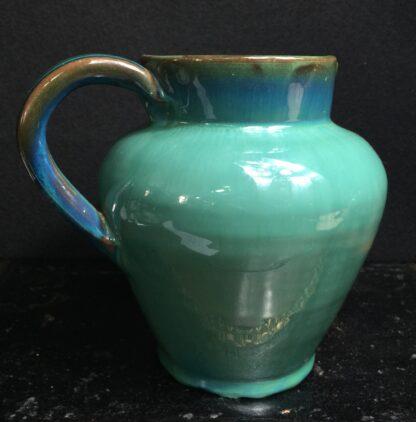 Dicker Pottery jug, turquoise glaze, c.1935-0