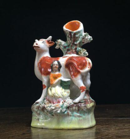 Small Staffordshire 'milkmaid' spill vase, c.1865-11587