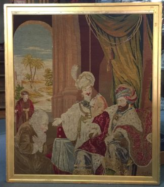 Large Victorian tapestry, Joseph presenting his father to Pharaoh, dated 1853. -0