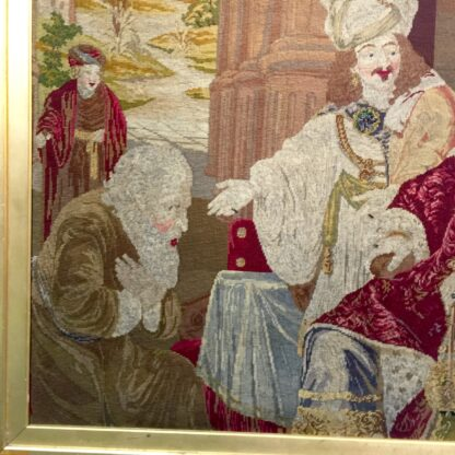 Large Victorian tapestry, Joseph presenting his father to Pharaoh, dated 1853. -11108