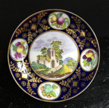 Newhall saucer dish, brightly coloured batt print, pat. 1150, c.1805-0