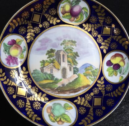 Newhall saucer dish, brightly coloured batt print, pat. 1150, c.1805-11131