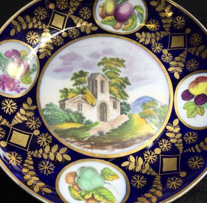 Newhall saucer dish, brightly coloured batt print, pat. 1150, c.1805-11133