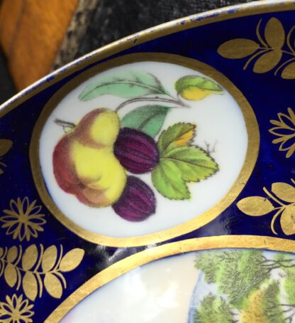 Newhall saucer dish, brightly coloured batt print, pat. 1150, c.1805-11135