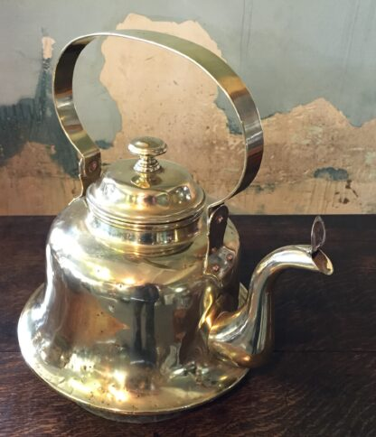 Large brass ships kettle, with copper socket base, 19th century -10874