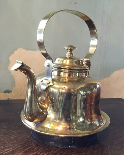 Large brass ships kettle, with copper socket base, 19th century -10876