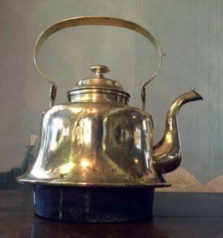 Large brass ships kettle, with copper socket base, 19th century -0