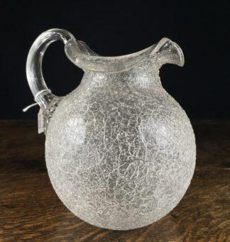 English 'crackle' glass jug, 19th century -0