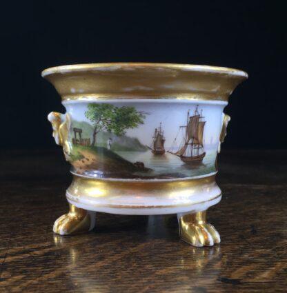 Paris Porcelain inkwell with continuous landscape, ships, c.1825 -12175
