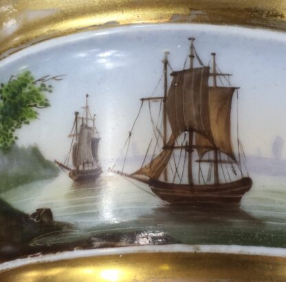 Paris Porcelain inkwell with continuous landscape, ships, c.1825 -12180