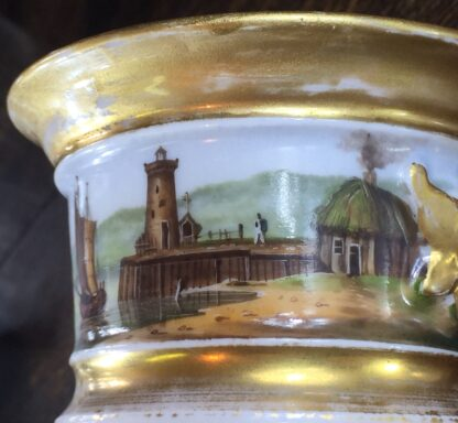 Paris Porcelain inkwell with continuous landscape, ships, c.1825 -12183