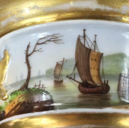 Paris Porcelain inkwell with continuous landscape, ships, c.1825 -12184