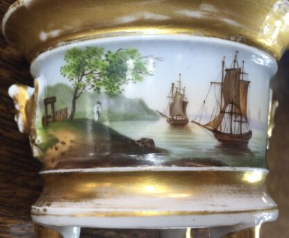 Paris Porcelain inkwell with continuous landscape, ships, c.1825 -12185