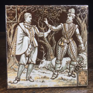 Minton tile, 'Fortunes of Nigel' by Moyr Smith, c. 1880-0