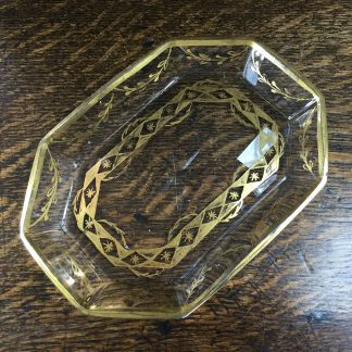Glass dish with gilt swags & star cut, Continental, c.1800-0