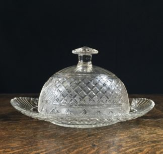 Quality Georgian cut glass butter dish & cover, c.1820-0