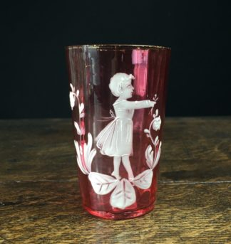 Victorian Mary Gregory Ruby drinking glass, c.1880-0