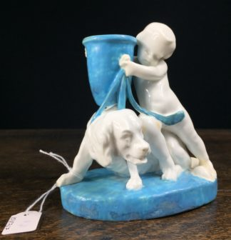 Royal Worcester vase, boy with dog, circa 1870-0