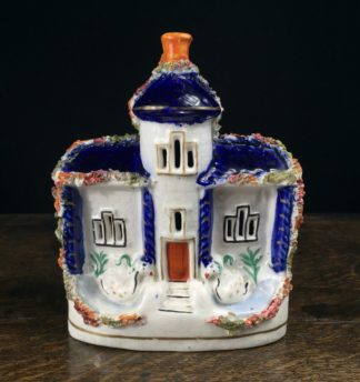Staffordshire tower house, blue roof with 2 swans, c. 1880 -0