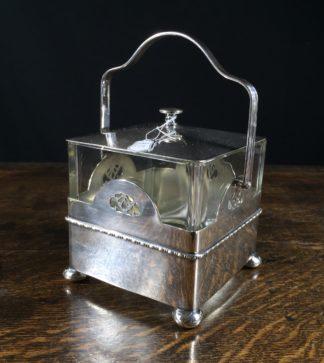 Stylish glass & silver plate 'bread box', c.1925-0